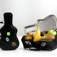 Guitar Lunchbox aus Metall inkl. Stickers für den individuellen Look