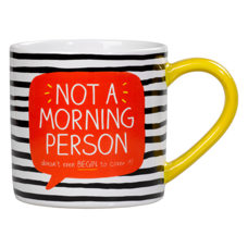 "Tasse aus Keramik ""not a morning person"" in farbenfroher Geschenkbox"