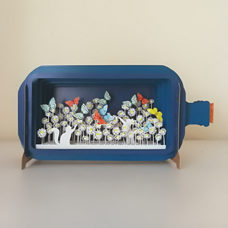 "Karte in 3D Message in a Bottle ""Cats and Butterflies"""